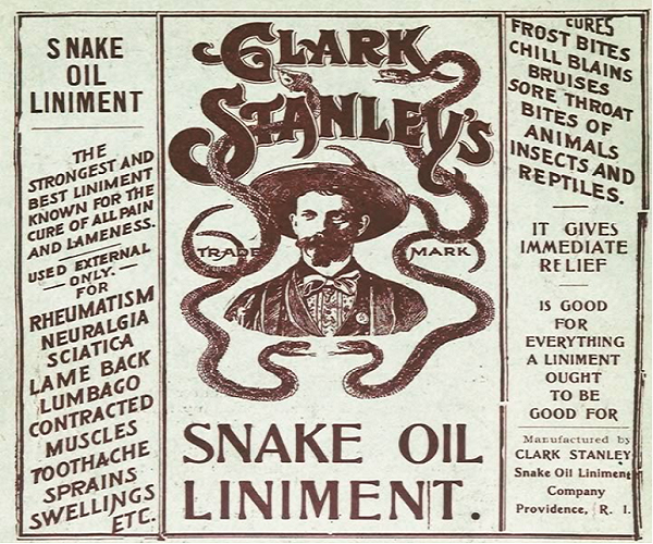 Snake oil claims were similar to today's Earthing claims