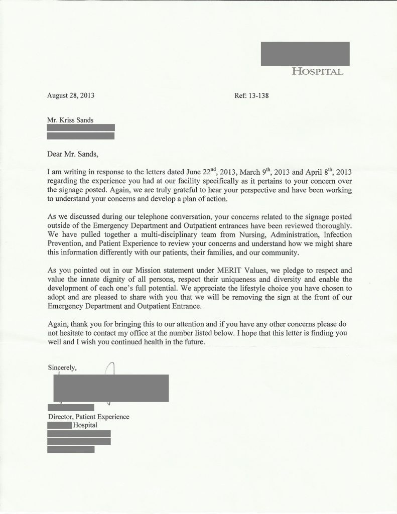 "Letter received from hospital confirming ""shoes required"" signs were being removed"