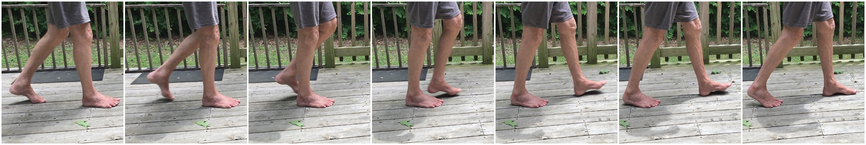 Natural barefoot walking is with a gentle initial heel contact (heel strike).