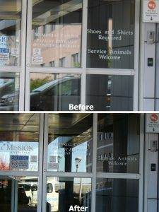 "Unwelcoming ""Shoes & Shirts Required"" sign at a local hospital entrance was removed at my request a few years ago."