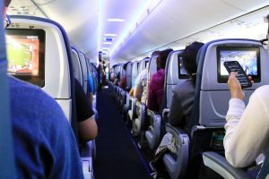 Typical main cabin of a full flight. The vast majority of airline passengers are friendly and respectful of each other.