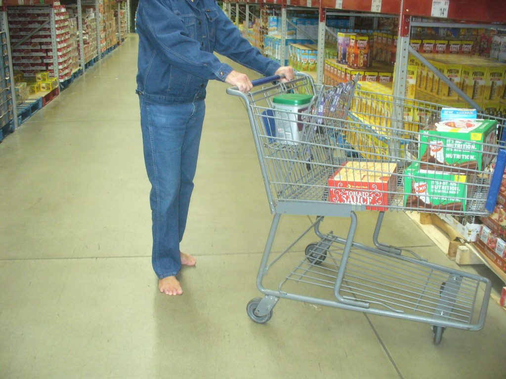 A regular customer at this warehouse store, where he was initially refused entry a few years ago due to being barefoot.