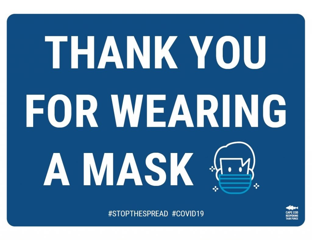 This is a very good - and respectful - mask requirement sign being promoted on Cape Cod, MA.