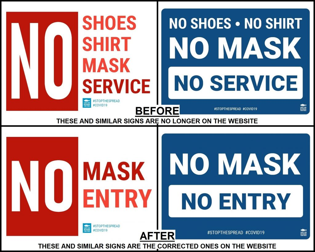 "The Cape Cod Reopening Task Force recently changed its ""mask required"" signs for businesses by removing the unrelated and misleading ""No shoes, No shirt"" wording."