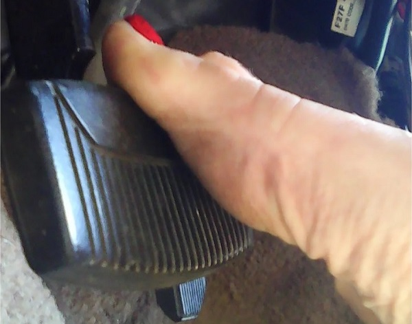 A bare foot can quickly feel, grab onto, and press a brake pedal - much safer and more efficiently than a shod foot.