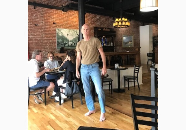 Barefoot in a restaurant. Most enlightened businesses respect a customer's choice to not wear footwear.